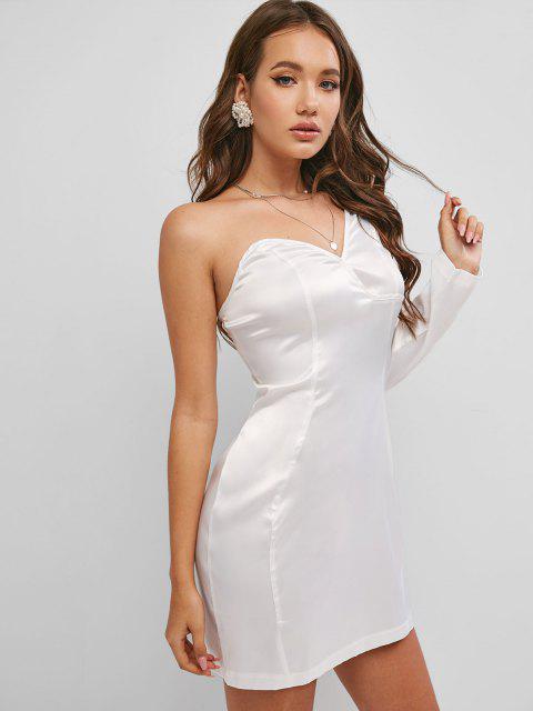 One Shoulder Silky Satin Dress - أبيض M Mobile