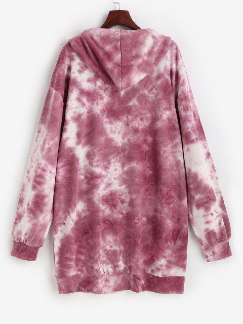 women Dragon Print Oriental Tie Dye Hooded Dress - RED S Mobile