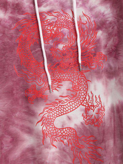 online Dragon Print Oriental Tie Dye Hooded Dress - RED M Mobile