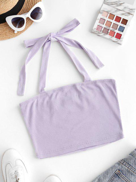 trendy ZAFUL Ribbed Halter Crop Tank Top - LIGHT PURPLE M Mobile