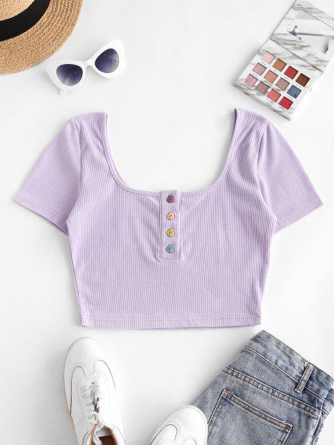ZAFUL Geripptes Herzförmige Knöpfe Crop Henley T-Shirt - Helles Lila M Mobile