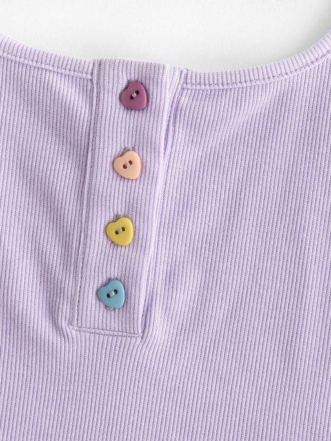 ZAFUL Geripptes Herzförmige Knöpfe Crop Henley T-Shirt - Helles Lila L Mobile