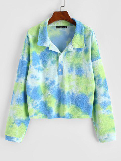 lady Tie Dye Terry Cloth Drop Shoulder Sweatshirt - GREEN S Mobile