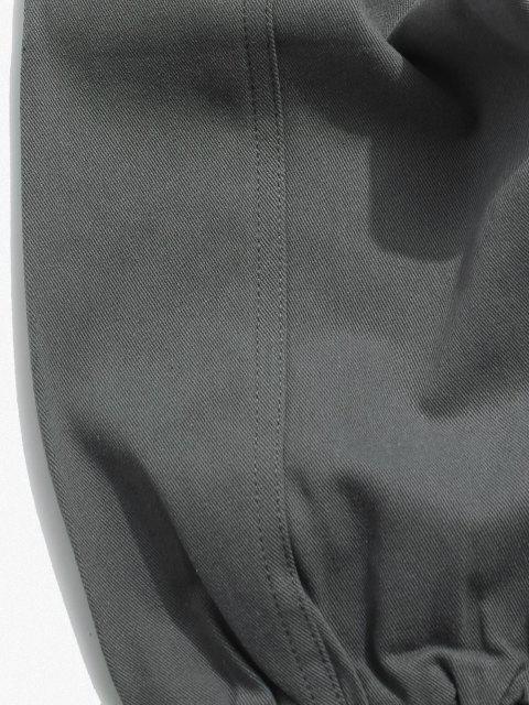 Pantalones Apliques Elásticos de Color Sólido - Gris L Mobile