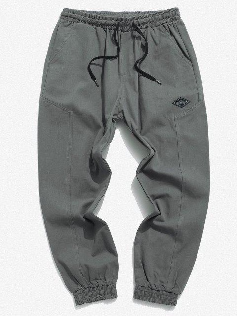 Pantalones Apliques Elásticos de Color Sólido - Gris S Mobile