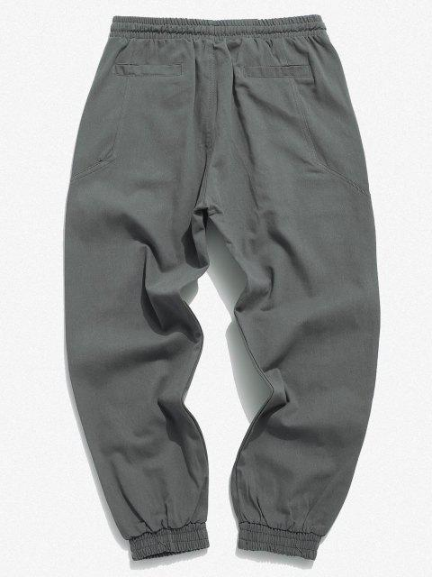 Pantalones Apliques Elásticos de Color Sólido - Gris 2XL Mobile