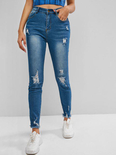hot High Rise Distressed Frayed Hem Skinny Jeans - COBALT BLUE M Mobile