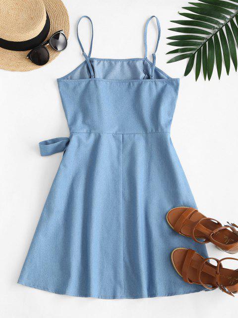lady ZAFUL Overlay Tie Chambray Cami Dress - LIGHT BLUE M Mobile