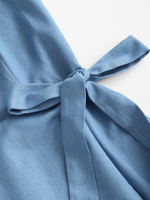 new ZAFUL Overlay Tie Chambray Cami Dress - LIGHT BLUE XL Mobile