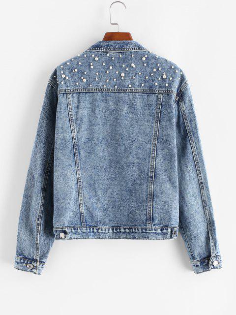 fancy Faux Pearl Button Up Trucker Denim Jacket - LIGHT BLUE L Mobile