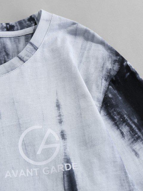 affordable ZAFUL Tie Dye Print Long Sleeve Graphic T-shirt - LIGHT GRAY 2XL Mobile