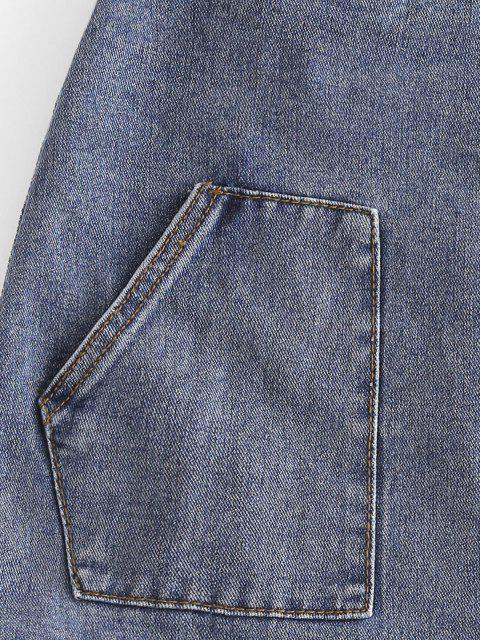 chic Button Up Pockets Denim Mini Skirt - LIGHT BLUE XL Mobile