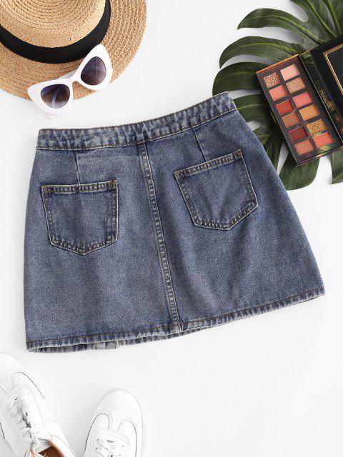 women's Button Up Pockets Denim Mini Skirt - LIGHT BLUE L Mobile