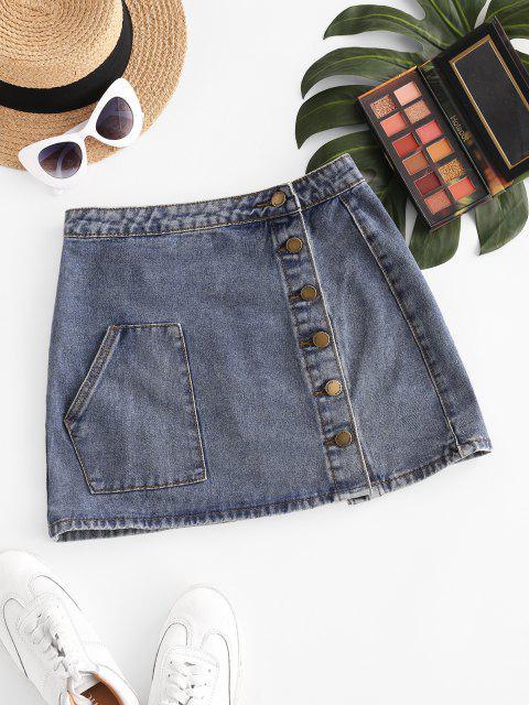 ladies Button Up Pockets Denim Mini Skirt - LIGHT BLUE M Mobile