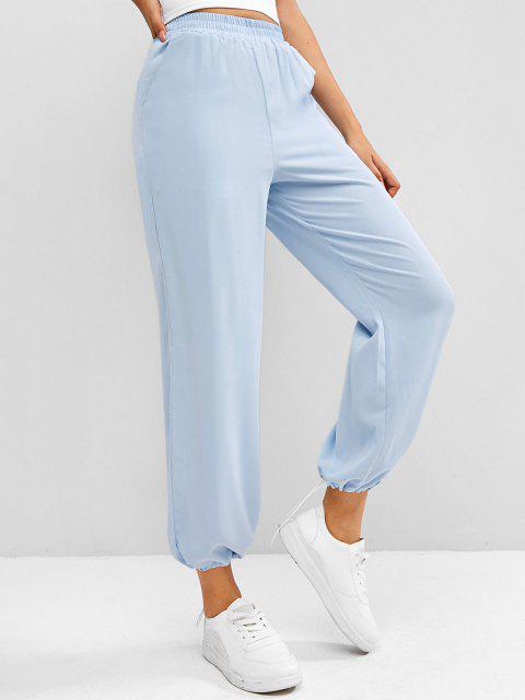 shop High Rise Pull On Pants - LIGHT BLUE ONE SIZE Mobile