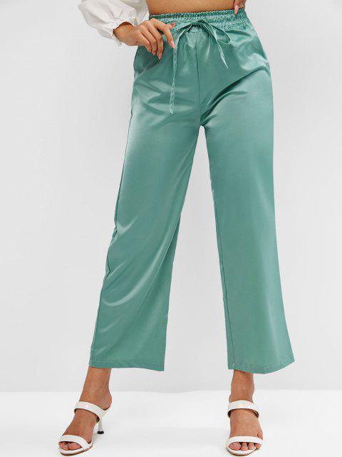 outfit High Rise Satin Wide Leg Pants - GREEN ONE SIZE Mobile