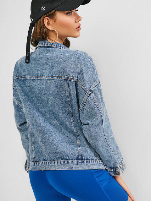 lady Drop Shoulder Pocket Boyfriend Denim Jacket - LIGHT BLUE S Mobile