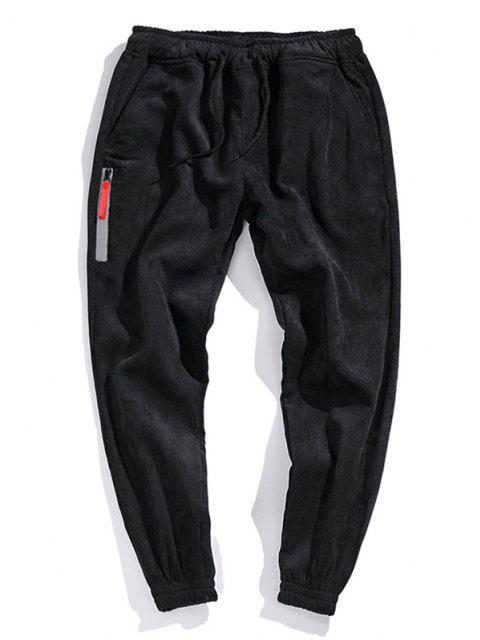 Pantalones de Pana con Bordado de Bolsillo Imitación - Negro XL Mobile