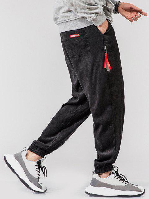 Pantalones de Pana con Bordado de Bolsillo Imitación - Negro M Mobile