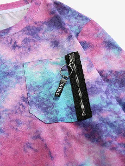 ZAFUL Krawattenfärbender Druck Reißverschluss Taschen Sweatshirt - Multi S Mobile