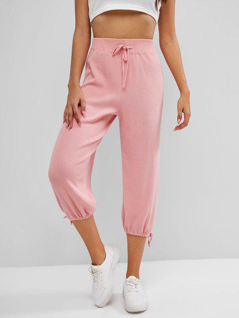 lady Knitted Drawstring Hem Tie High Rise Pants - LIGHT PINK ONE SIZE Mobile