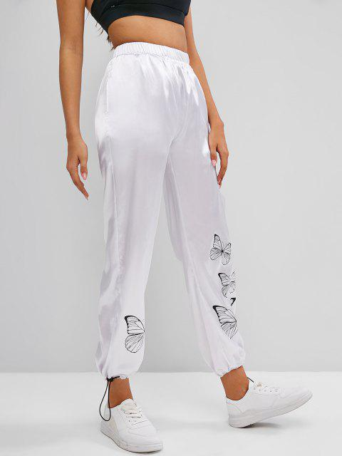 shop High Waisted Silky Satin Butterfly Pants - WHITE L Mobile