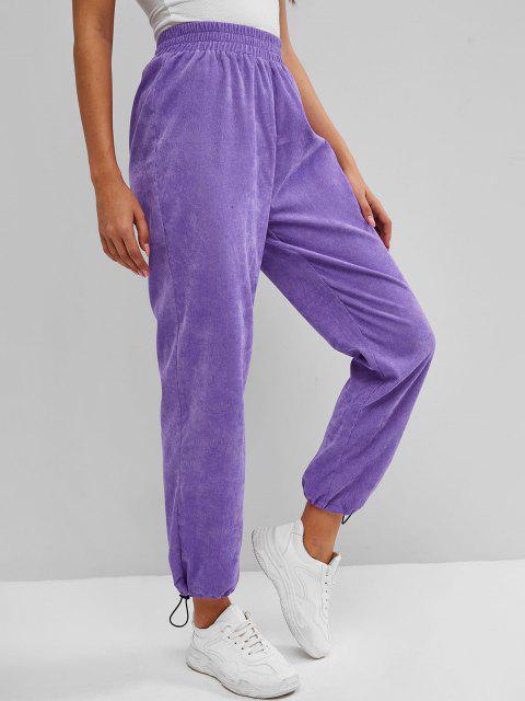 ladies ZAFUL Drawstring Hem Corduroy Pull On Pants - PURPLE XL Mobile