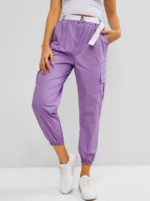 lady High Waisted Pockets Buckle Belted Cargo Pants - MAUVE ONE SIZE Mobile