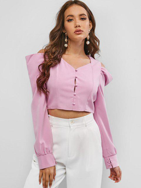 online Sweetheart Neck Cold Shoulder Crop Top - LIGHT PINK L Mobile