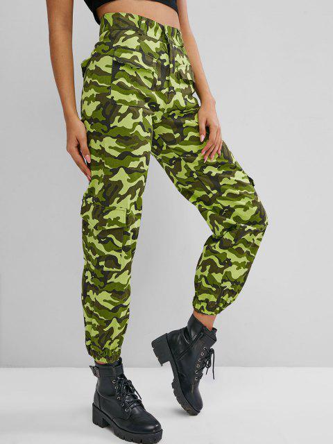lady Flap Pockets Camo Beam Cargo Pants - GREEN XL Mobile