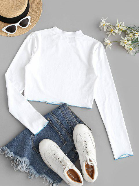 online Sparkly Butterfly Print Contrast Trim Crop T-shirt - MILK WHITE M Mobile