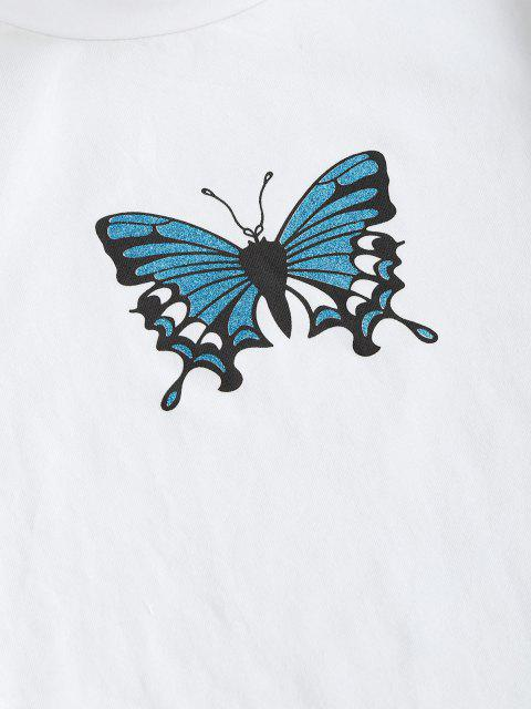 new Sparkly Butterfly Print Contrast Trim Crop T-shirt - MILK WHITE L Mobile