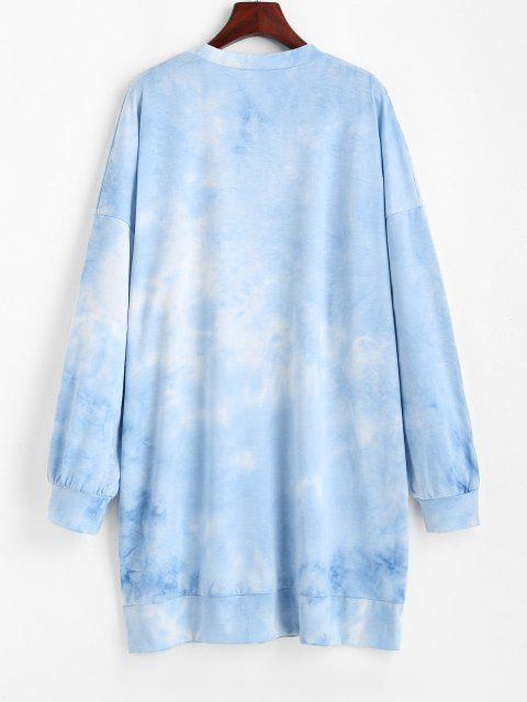 trendy Tie Dye Drop Shoulder Oversized Sweater Dress - BLUE S Mobile