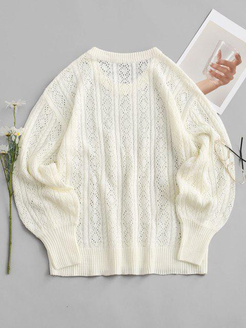 unique Openwork Cable Knit Balloon Sleeve Sweater - WHITE M Mobile