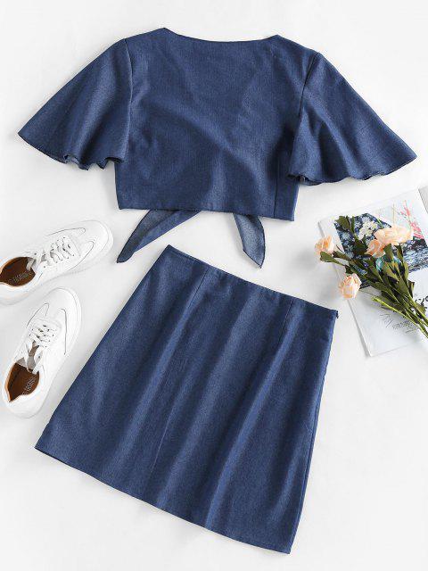 women ZAFUL Chambray Tie Front Flutter Sleeve Skirt Set - BLUE S Mobile