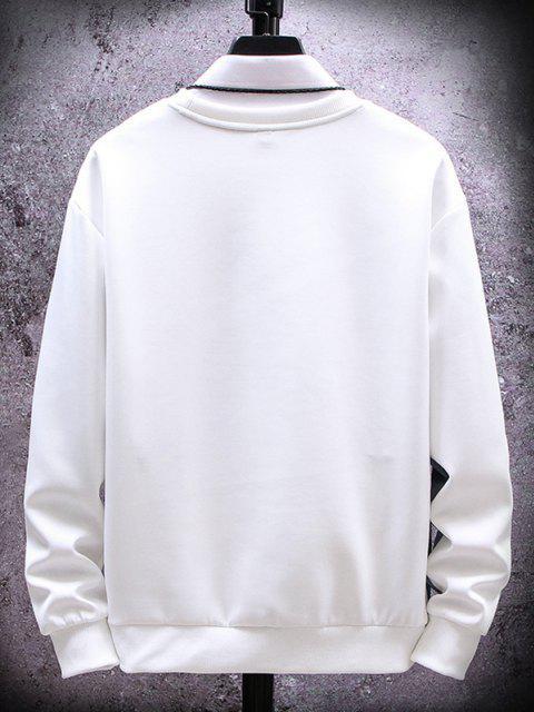new Colorblock Letter Graphic Print Sweatshirt - WHITE XS Mobile