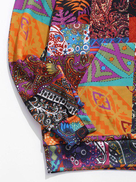 buy Glen Check Pattern Pocket Casual Hoodie - MULTI-A L Mobile