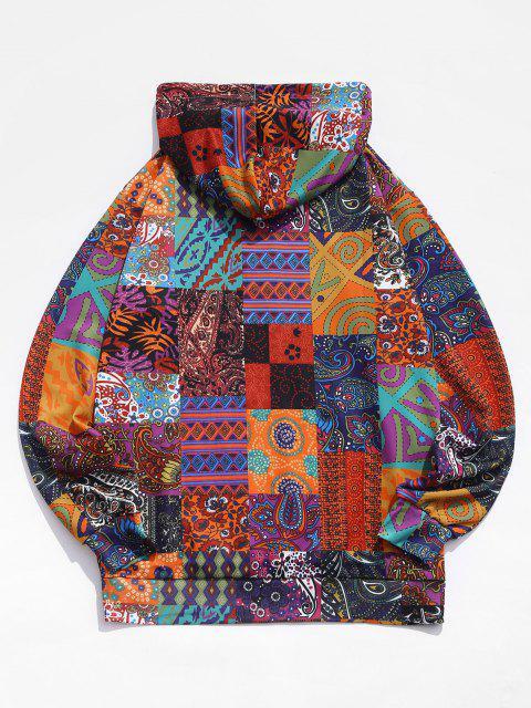 womens Glen Check Pattern Pocket Casual Hoodie - MULTI-A XL Mobile