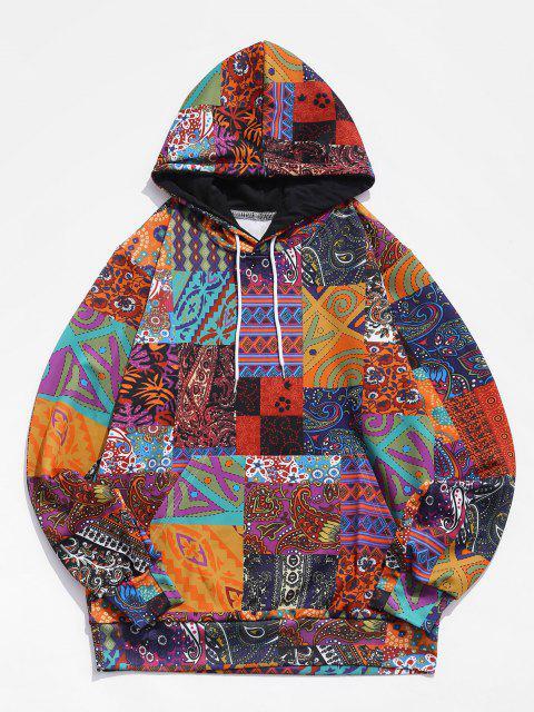 ladies Glen Check Pattern Pocket Casual Hoodie - MULTI-A 4XL Mobile