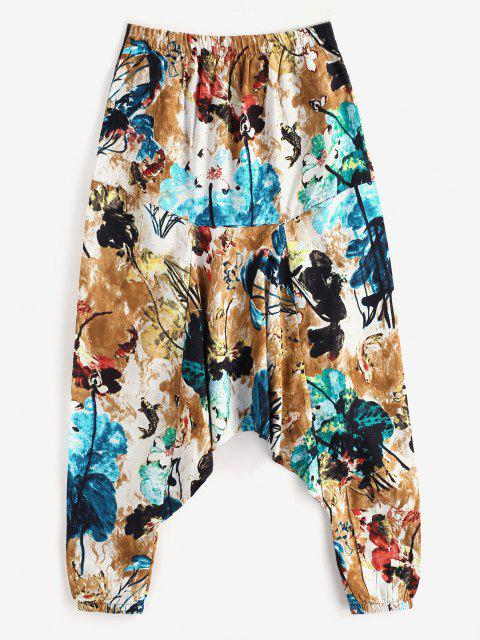 affordable Flowers Leaves Elephant Print Harem Pants - WHITE 2XL Mobile