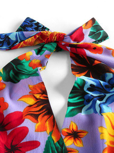 womens ZAFUL Halter Backless Tropical Print Romper - PURPLE S Mobile