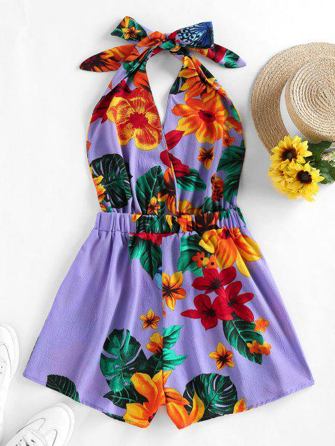 outfits ZAFUL Halter Backless Tropical Print Romper - PURPLE M Mobile