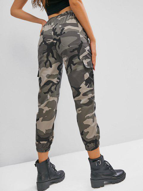 trendy Drawstring Camouflage Flap Pockets Cargo Pants - MULTI-B L Mobile