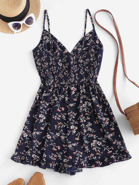 trendy ZAFUL Floral Ruffle Smocked Wide Leg Cami Romper - DEEP BLUE L Mobile