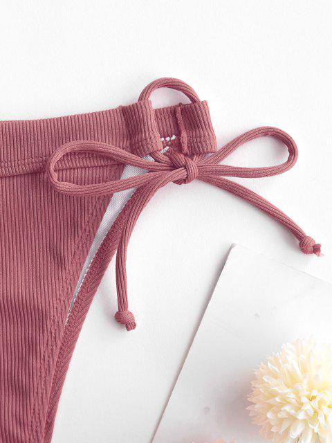 hot ZAFUL Ribbed Tie Side High Cut Bikini Bottom - LIGHT PINK S Mobile