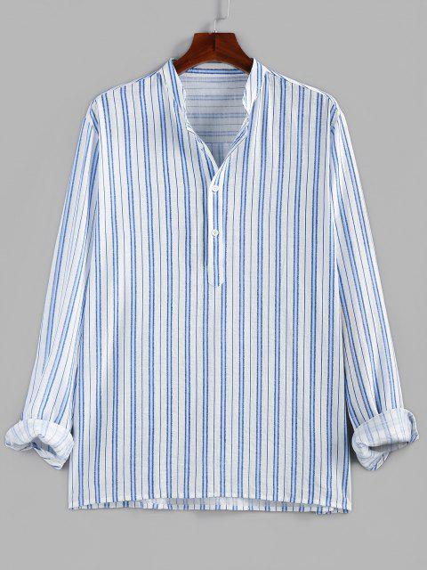 new ZAFUL Striped Print Half Button Kurta Casual Shirt - BLUE S Mobile