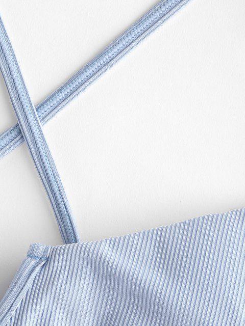 buy ZAFUL Ribbed Striped Cross V Wired Bikini Swimwear - LIGHT BLUE S Mobile