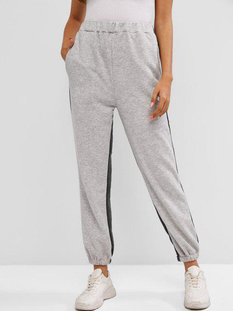 shop French Terry Bicolor Jogger Pants - GRAY L Mobile