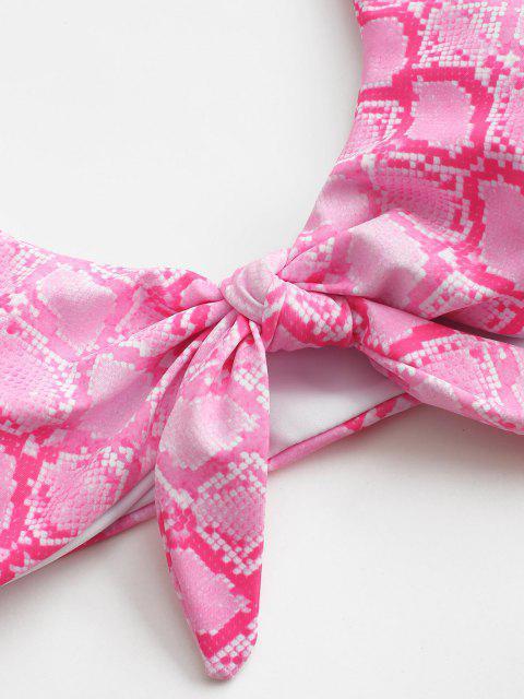 ZAFUL Verknoteter Tierdruck Bikini-Top - Hell-Pink L Mobile