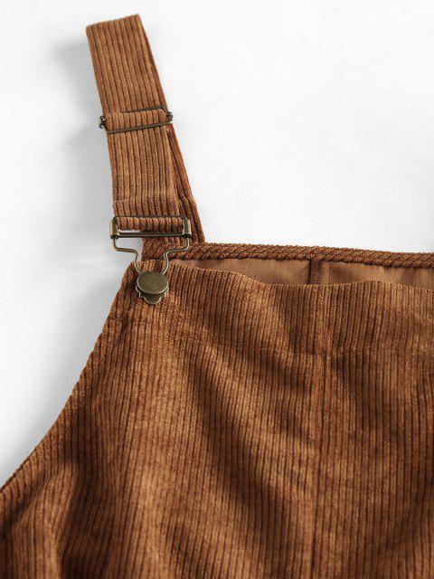 women ZAFUL Pocket Rolled Corduroy Pinafore Romper - CARAMEL M Mobile